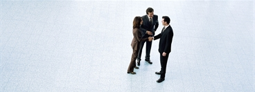 Three business people, man and woman shaking hands, elevated view